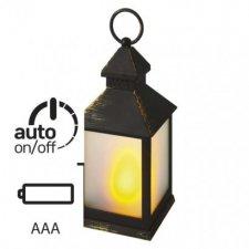 LED dekorácia - 6x lampáš mliečny, 3x AAA, čierna, vintage