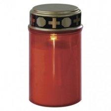 LED náhrobná sviečka, 2× C, červená, časovač