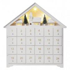 LED adventný kalendár, 35x30cm, 2x AA, vnútorný, teplá biela
