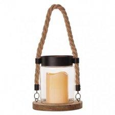 LED dekorácia - lampáš, sklo a drevo, 3× AAA, vintage