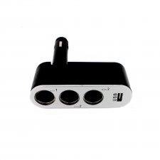 Rozbočovač do autozapaľovača 3-itý + USB konektor 1A