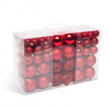 Sada vianočných gulí - 100 ks / balenie - červená