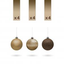Sada ozdobných gulí - 3 cm - bronzové - 12 ks / balenie