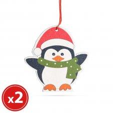 Sada vianočných ozdôb - tučniak - z dreva  - 8 x 6 cm