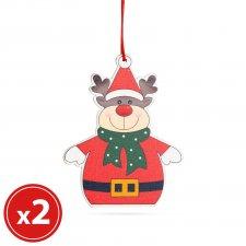 Sada vianočných ozdôb - sob - z dreva - 8 x 6 cm