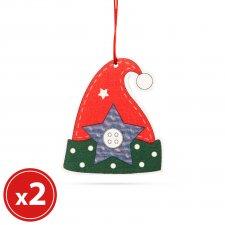 Sada vianočných ozdôb - škriatkovská čiapka - z dreva - 8 x 6 cm