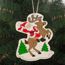 Ozdoba na vianočný strom - drevená, sob - 16 x 12 cm