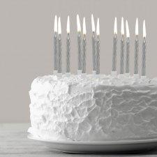Sada sviečok na tortu - strieborné, 12 ks