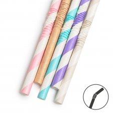 Papierová slamka - pastelová - 250 x 6 mm - 5 druhov - 150 ks / balenie