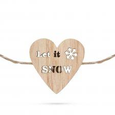 Vianočný drevený štipec s teplým LED svetlom v tvare srdca