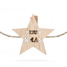 Vianočný drevený štipec s teplým LED svetlom v tvare hviezdy
