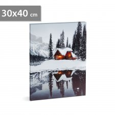LED obraz na stenu - zimná krajina -  2 x AA, 30 x 40 cm