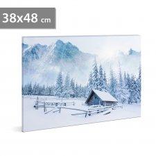 LED obrázok na stenu - zimná krajina  -  2 x AA, 38 x 48 cm