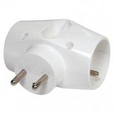 Rozbočovacia zásuvka 2× kulatá + 1× plochá, biela