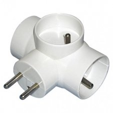 Rozbočovacia zásuvka 3× guľatá, biela