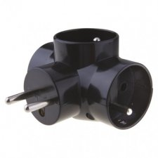Rozbočovacia zásuvka 3× guľatá, čierny