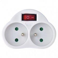 Rozbočovacia zásuvka 2× guľatá s vypínačom, biela