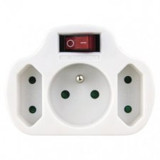 Rozbočovacia zásuvka 2× plochá +1× guľatá s vypínačom, biela