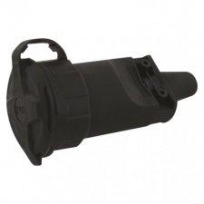Gumová zásuvka pre predlžovací kábel, čierna