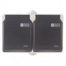 Zásuvka nástenná dvojitá, šedo-čierna, IP44