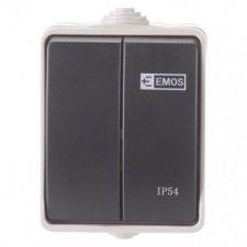 Prepínač nástenný č. 5 IP54, 2 tlačidlá