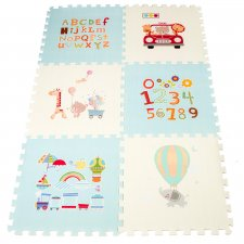Penové puzzle pre deti, svetlomodrá 177x118x1,3 cm