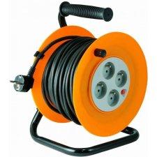 Predlžovací kábel na bubne, kovový podstavec, 4 uzemnené zásuvky, 30 m, IP44, 3 x1,5 nmm, francúzska n.