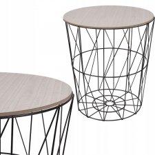 SPRINGOS drôtený konferenčný stolík 45cm - čierny