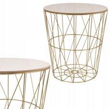 SPRINGOS drôtený konferenčný stolík 35cm - zlatý