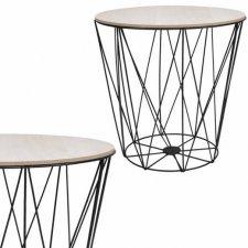 SPRINGOS drôtený konferenčný stolík Vintage 35cm - čierny