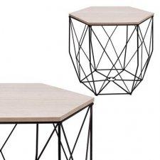 SPRINGOS drôtený konferenčný stolík Vintage hranatý 40cm - čierny