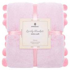 SPRINGOS Prehoz na posteľ s veľkými pomponmi 200x220 cm - ružový