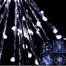 Vianočná LED svetelná ozdoba vonkajšia + programator - explodujúca hviezda 20 vetvičiek - 100LED - Studená biela